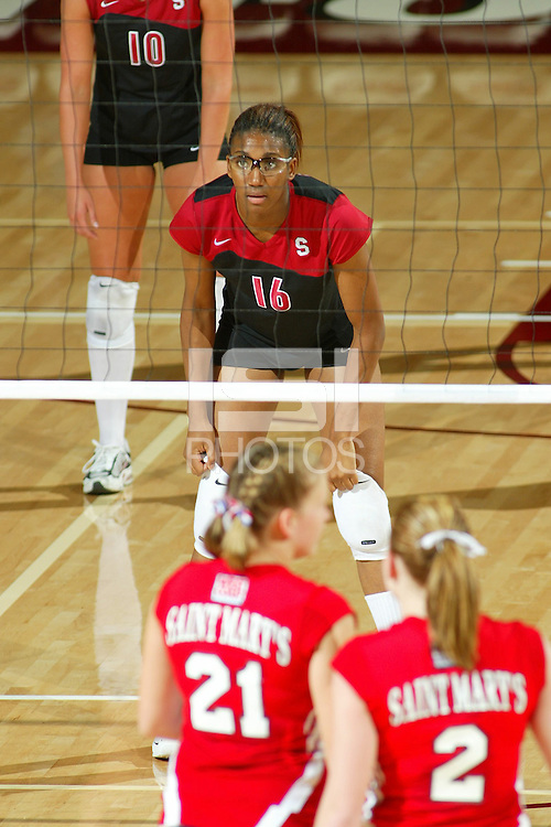 15 September 2005: Stanford women's volleyball player Foluke Akinradewo during Stanford's 3-0 win over Saint Mary's in Maples Pavilion in Stanford, CA.
