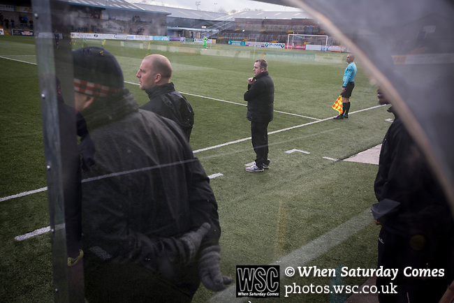 Forfar Athletic 1 Edinburgh City 2, 02/02/2017. Station Park, SPFL League 2. Visiting manager Gary Jardine watching his team pressing for a second-half equaliser at Station Park, Forfar during the SPFL League 2 fixture between Forfar Athletic and Edinburgh City (yellow). It was the club's sixth and final meeting of City's inaugural season since promotion from the Lowland League the previous season. City came from behind to win this match 2-1, watched by a crowd of 446. Photo by Colin McPherson.