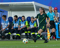 GRENOBLE, FRANCE - JUNE 18: Laura Alleway #5 of the Australian National Team passes the ball during a game between Jamaica and Australia at Stade des Alpes on June 18, 2019 in Grenoble, France.