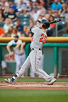 Preston Tucker (20) of the Fresno Grizzlies bats against the Salt Lake Bees at Smith's Ballpark on September 3, 2017 in Salt Lake City, Utah. The Bees defeated the Grizzlies 10-8. (Stephen Smith/Four Seam Images)