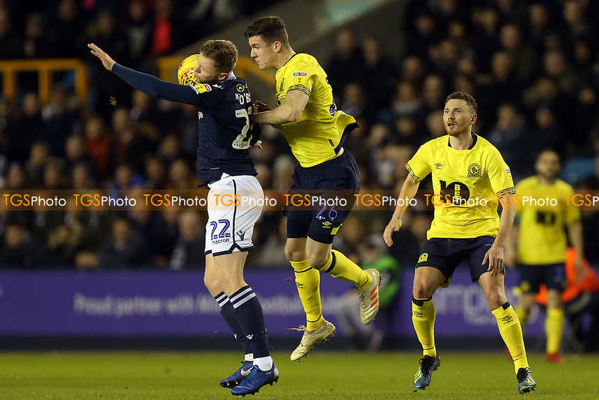 Aiden O'Brien of Millwall and Darragh Lenihan of Blackburn Rovers during Millwall vs Blackburn Rovers, Sky Bet EFL Championship Football at The Den on 12th January 2019