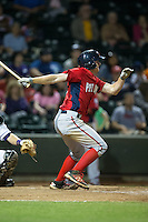 Andrew Stevenson (1) of the Potomac Nationals follows through on his swing against the Winston-Salem Dash at BB&T Ballpark on May 13, 2016 in Winston-Salem, North Carolina.  The Dash defeated the Nationals 5-4 in 11 innings.  (Brian Westerholt/Four Seam Images)