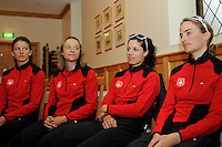MELBOURNE, 27 SEPTEMBER - Members of the Swiss team Emilie Aubry, Jennifer Hohl, Patricia Schwager, and Doris Schweizer at the Swiss team's press conference ahead of the 2010 UCI Road World Championships held at the Swiss Club in Melbourne, Australia (Photo Sydney Low / syd-low.com)