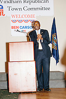 Republican presidential candidate Dr. Ben Carson speaks at a town hall campaign stop at a meeting of the Windham Republican Town Committee at the Castleton Banquet and Conference Center in Windham, New Hampshire.