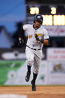 West Virginia Black Bears center fielder Sandy Santos (27) running the bases during a game against the Batavia Muckdogs on June 28, 2016 at Dwyer Stadium in Batavia, New York.  Batavia defeated West Virginia 3-1.  (Mike Janes/Four Seam Images)