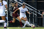 17 September 2016: Duke's Morgan Reid (24) and Boston College's McKenzie Meehan (22). The Duke University Blue Devils hosted the Boston College Eagles at Koskinen Stadium in Durham, North Carolina in a 2016 NCAA Division I Women's Soccer match. Duke won the game 3-2.