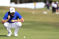 Lucas Bjerregaard (DEN) on the 17th green during Sunday's Final Round 4 of the 2018 Omega European Masters, held at the Golf Club Crans-Sur-Sierre, Crans Montana, Switzerland. 9th September 2018.<br /> Picture: Eoin Clarke | Golffile<br /> <br /> <br /> All photos usage must carry mandatory copyright credit (© Golffile | Eoin Clarke)
