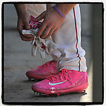 #OTD On This Day, May 8, 2016, catcher Austin Rei (13) of the Greenville Drive wore special pink Nike cleats for Mother's Day in a game against the Columbia Fireflies at Fluor Field at the West End in Greenville, South Carolina. He is still in the Boston organization and is working his way back from an injury. (Tom Priddy/Four Seam Images) #MiLB #OnThisDay #MissingBaseball #nobaseball #stayathome #minorleagues #minorleaguebaseball #Baseball #SallyLeague #AloneTogether