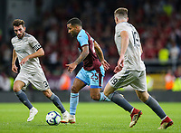Burnley's Aaron Lennon takes on Aberdeen's Graeme Shinnie and Lewis Ferguson<br /> <br /> Photographer Alex Dodd/CameraSport<br /> <br /> UEFA Europa League - Europa League Qualifying Round 2 2nd Leg - Burnley v Aberdeen - Thursday 2nd August 2018 - Turf Moor - Burnley<br />  <br /> World Copyright © 2018 CameraSport. All rights reserved. 43 Linden Ave. Countesthorpe. Leicester. England. LE8 5PG - Tel: +44 (0) 116 277 4147 - admin@camerasport.com - www.camerasport.com