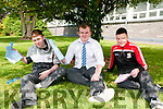 North Kerry College students who sat the English Leaving cert exam on Wednesday from left: Tiernan Ball, Cillian Downey and Kieran O'Connor.