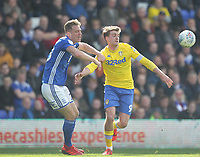 Leeds United's Patrick Bamford battles with  Birmingham City's Michael Morrison<br /> <br /> Photographer Mick Walker/CameraSport<br /> <br /> The EFL Sky Bet Championship - Birmingham City v Leeds United - Saturday 6th April 2019 - St Andrew's - Birmingham<br /> <br /> World Copyright © 2019 CameraSport. All rights reserved. 43 Linden Ave. Countesthorpe. Leicester. England. LE8 5PG - Tel: +44 (0) 116 277 4147 - admin@camerasport.com - www.camerasport.com