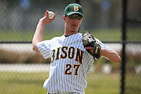 March 17, 2010:  Pitcher Mark Hermes (27) of North Dakota State University Bison vs. Long Island University at Lake Myrtle Park in Auburndale, FL.  Photo By Mike Janes/Four Seam Images