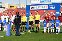 FRISCO, TX - MARCH 11: The SheBelieves Cup is displayed on the pitch during a game between England and Spain at Toyota Stadium on March 11, 2020 in Frisco, Texas.