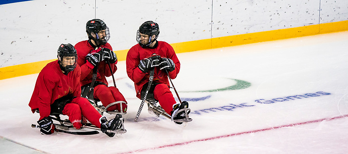 PyeongChang 8/3/2018 - Liam Hickey (#23), of St. John's, NL, Greg Westlake (#12), of Oakville, ON,  and Tyler McGregor (#8), of Forest, ON,  as Canada's sledge hockey team practices ahead of the start of competition at the Gangneung practice venue during the 2018 Winter Paralympic Games in Pyeongchang, Korea. Photo: Dave Holland/Canadian Paralympic Committee
