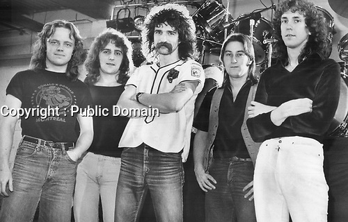 Saga; progressive rock musicians from North York, CANADA whose first album sold 50;000 copies in Munich last summer. From left; they are: brothers Ian and Jim Crichton; Mike Sadler; Steve Negus and Jim Gilmour.<br /> <br /> Griffin, Doug<br /> Picture, 1980