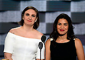 Actresses America Fererra, right, and Lena Dunham, left, make remarks during the second session of the 2016 Democratic National Convention at the Wells Fargo Center in Philadelphia, Pennsylvania on Tuesday, July 26, 2016.<br /> Credit: Ron Sachs / CNP<br /> (RESTRICTION: NO New York or New Jersey Newspapers or newspapers within a 75 mile radius of New York City)