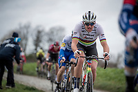 World Champion Mads Pedersen (DEN/Trek-Segafredo) up the Oude Kwaremont<br /> <br /> 72nd Kuurne-Brussel-Kuurne 2020 (1.Pro)<br /> Kuurne to Kuurne (BEL): 201km<br /> <br /> ©kramon