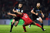 Rhys Priestland of Bath Rugby takes on the Toulouse defence. Heineken Champions Cup match, between Stade Toulousain and Bath Rugby on January 20, 2019 at the Stade Ernest Wallon in Toulouse, France. Photo by: Patrick Khachfe / Onside Images
