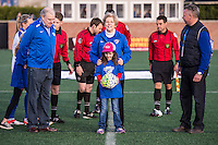 Allston, MA - Sunday, April 24, 2016: US Senator Elizabeth Warren during opening ceremonies. The Boston Breakers play Seattle Reign during a regular season NSWL match at Harvard University.