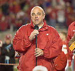 MADISON, WI - NOVEMBER 12: Head coach Barry Alvarez of the Wisconsin Badgers addresses the crowd during the post-game ceremony at Camp Randall Stadium on November 12, 2005 in Madison, Wisconsin. The Hawkeyes beat the Badgers 20-10. (Photo by David Stluka)