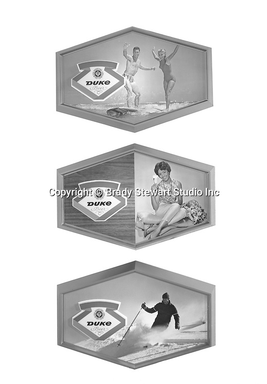 Pittsburgh PA:  Studio photography for Ad Agency Lando Inc., of the new DUKE Signs for Bars and Restaurants - 1966.  The Duquesne brewery operated on the South Side of Pittsburgh from 1899 - 1972.  Competition from National brands and labor problems forced managment to sell the brands to Schmidts of Philadelphia.