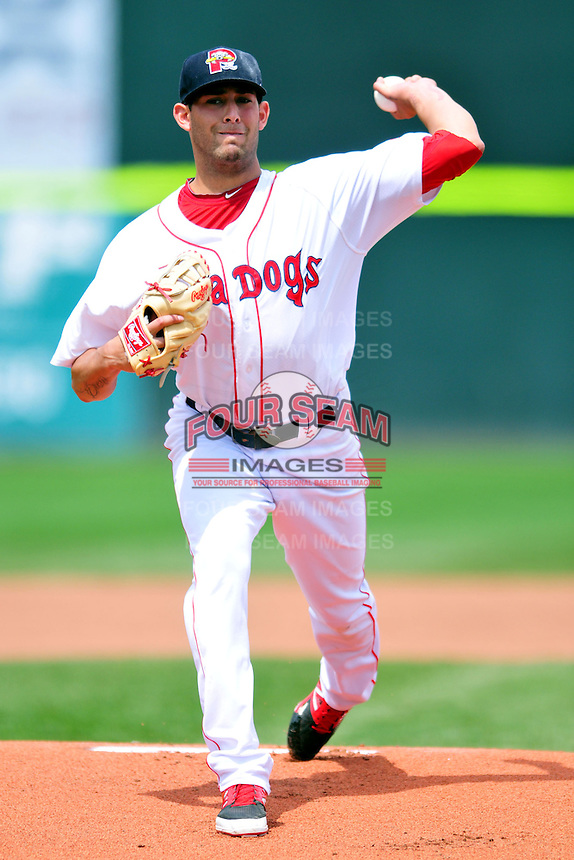 Portland Sea Dogs starting pitcher Mickey Pena #26 during a game versus the Trenton Thunder at Hadlock Field in Portland, Maine on May 17, 2014. (Ken Babbitt/Four Seam Images)