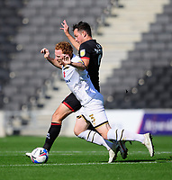 Milton Keynes Dons' Dean Lewington is fouled by Lincoln City's Tom Hopper<br /> <br /> Photographer Chris Vaughan/CameraSport<br /> <br /> The EFL Sky Bet League One - Milton Keynes Dons v Lincoln City - Saturday 19th September 2020 - Stadium MK - Milton Keynes<br /> <br /> World Copyright © 2020 CameraSport. All rights reserved. 43 Linden Ave. Countesthorpe. Leicester. England. LE8 5PG - Tel: +44 (0) 116 277 4147 - admin@camerasport.com - www.camerasport.com