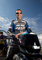 Sept. 1, 2013; Clermont, IN, USA: NHRA pro stock motorcycle rider Eddie Krawiec during qualifying for the US Nationals at Lucas Oil Raceway. Mandatory Credit: Mark J. Rebilas-