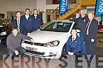 Kerry Manager Eamon Fitzmaurice launches the new Seventh Generation Volkswagen Golf  in Divanes garage Castleisland on Saturday with l-r: Denis Divane, John Vahey, Aidan Scanlon, Joe Martin, Paul Langston and Stan Divane..