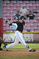 Ryan Kirby (10) of the Salem-Keizer Volcanoes bats against the Eugene Emeralds at Volcanoes Stadium on July 24, 2017 in Keizer, Oregon. Eugene defeated Salem-Keizer, 7-6. (Larry Goren/Four Seam Images)