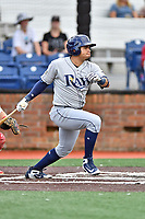 Princeton Rays designated hitter Jonathan Aranda (17) swings at a pitch during a game against the Johnson City Cardinals at TVA Credit Union Ballpark on August 9, 2018 in Johnson City, Tennessee. The Rays defeated the Cardinals 10-2. (Tony Farlow/Four Seam Images)
