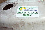 Mixed glass recycling container label