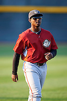 Altoona Curve outfielder Quincy Latimore #22 warms up before an Eastern League game against the Erie Seawolves at Jerry Uht Park on August 31, 2012 in Erie, Pennsylvania.  Altoona defeated Erie 4-3.  (Mike Janes/Four Seam Images)