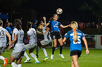 Kansas City, MO - Thursday August 10, 2017: Jaelene Hinkle, Shea Groom during a regular season National Women's Soccer League (NWSL) match between FC Kansas City and the North Carolina Courage at Children's Mercy Victory Field.