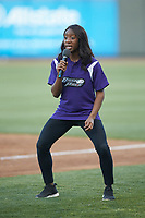 Brooke Thomas of the Dash Pack emcees a between innings contest during the Carolina League game between the Lynchburg Hillcats and the Winston-Salem Dash at BB&T Ballpark on May 1, 2018 in Winston-Salem, North Carolina. The Dash defeated the Hillcats 9-0. (Brian Westerholt/Four Seam Images)