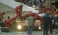 The #30 Ferrari 333 SP of Gianpiero Moretti,  Bob Wollek, Didier Theys and Max Papis makes a pit stop en route to a second place finish in the 24 Hours of Daytona, IMSA race, Daytona International Speedway, Daytona Beach , FL, February 4, 1996.  (Photo by Brian Cleary/www.bcpix.com)