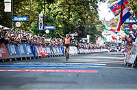 Annemiek van Vleuten (NED/Mitchelton-Scott) crosses the finish line & becomes the new World Champion after a mammoth 100+ km solo into Harrogate<br /> <br /> Elite Women Road Race from Bradford to Harrogate (149km)<br /> 2019 Road World Championships Yorkshire (GBR)<br /> <br /> ©kramon