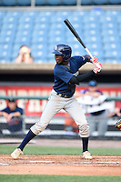 Lucius Fox Jr (1) of American Heritage Boca Delray High School in Lake Worth, Florida playing for the Tampa Bay Rays scout team during the East Coast Pro Showcase on August 1, 2014 at NBT Bank Stadium in Syracuse, New York.  (Mike Janes/Four Seam Images)