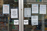 Pictured: Covid-19 announcements in the closed Boots pharmacy in the Uplands area in Swansea, Wales, UK. Saturday 21 March 2020<br /> Re: Covid-19 Coronavirus pandemic, UK.
