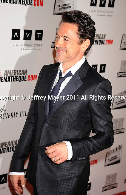 BEVERLY HILLS, CA - OCTOBER 14: Robert Downey, Jr.  arrives at the The 25th American Cinematheque Award Honoring Robert Downey Jr. at The Beverly Hilton hotel on October 14, 2011 in Beverly Hills, California.