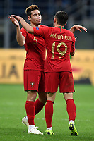 Raphael Guerreioro and Mario Rui of Portugal celebrate the qualification to the final four at the end of the Nations League League A group 3 football match between Italy and Portugal at stadio Giuseppe Meazza, Milano, November, 17, 2018 <br /> Foto Andrea Staccioli / Insidefoto