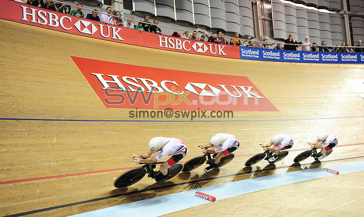 Picture by Alex Broadway/SWpix.com - 04/11/2016 - Cycling - 2016 UCI Track Cycling World Cup, Day 1 - Sir Chris Hoy Velodrome, Glasgow, United Kingdom - Men's Team Pursuit Finals - Mark Stewart, Andrew Tennant Oliver Wood and Kian Emsdi-Coffin of Great Britain win Gold.