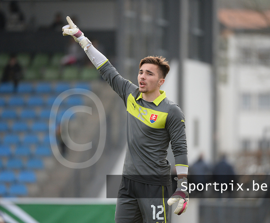 20150323 - MARBURG , GERMANY  : Slovakian Samuel Vavrus  pictured during the soccer match between Under 17 teams of Slovakia and Italy , on the second matchday in group 8 of the UEFA Elite Round Under 17 at Georg-Gassmann , Marburg Germany . Monday 23 rd  March 2015 . PHOTO DAVID CATRY
