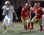 (Everett Ma 091914) Tewksbury 3, James Sullivan, finds a hole to make a long punt return,  during the first quarter of the game, Friday, Sept. 19, 2014, at Everett Stadium. (Jim Michaud Photo) For Saturday