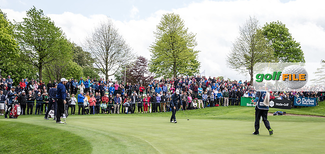 Crowds around the 9th during Round One of the 2016 Dubai Duty Free Irish Open Hosted by The Rory Foundation which is played at the K Club Golf Resort, Straffan, Co. Kildare, Ireland. 19/05/2016. Picture Golffile | David Lloyd.<br /> <br /> All photo usage must display a mandatory copyright credit as: &copy; Golffile | David Lloyd.