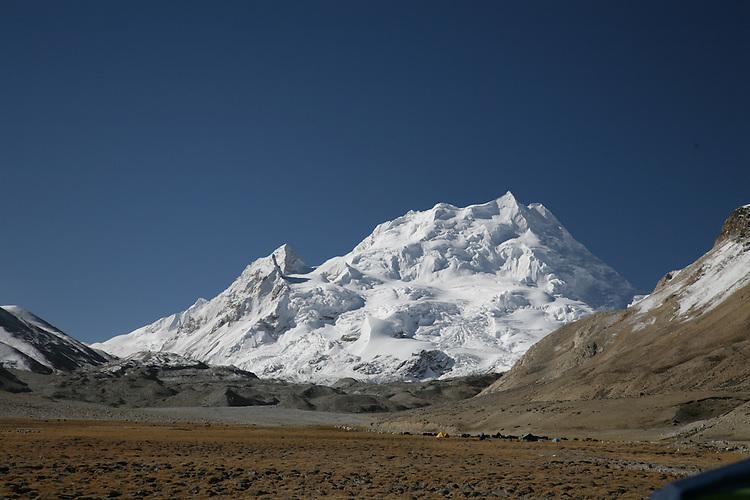 View of Cho-oyu base camp, and Nangpa-la pass (to left) a common escape route to Nepal.
