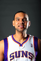 Dec. 16, 2011; Phoenix, AZ, USA; Phoenix Suns forward Jared Dudley poses for a portrait during media day at the US Airways Center. Mandatory Credit: Mark J. Rebilas-