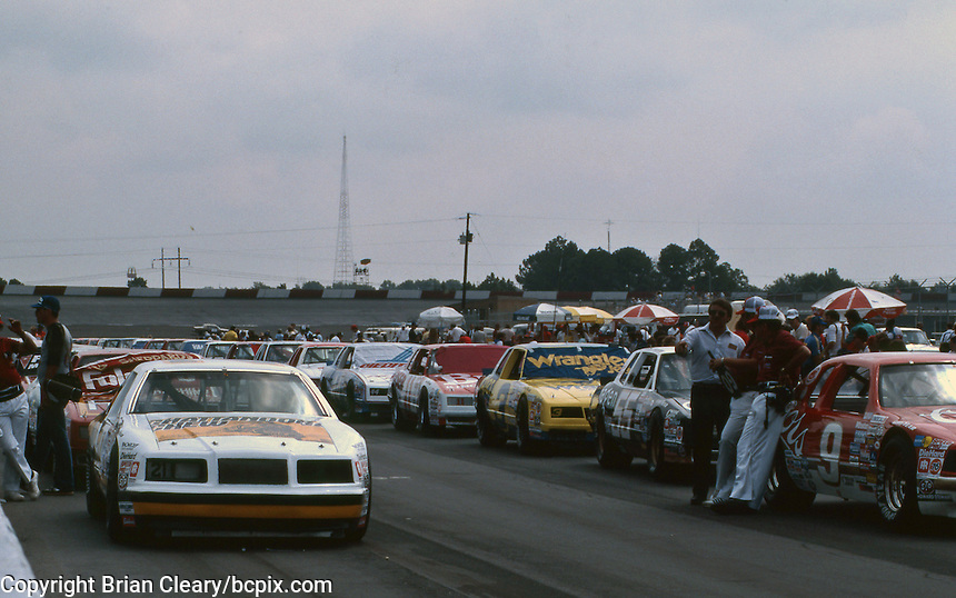 Cars lined up on pit road before the start of the Southern 500 at Darlington Raceway in Darlington SC on September 1, 1985. (Photo by Brian Cleary/www.bcpix.com)