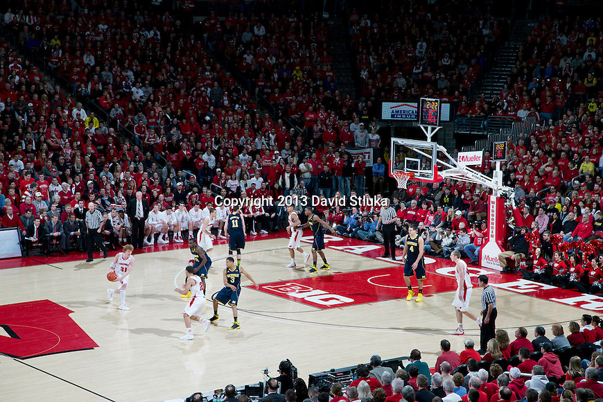 A general view of the Kohl Center during the Wisconsin Badgers Big Ten Conference NCAA college basketball game against the Michigan Wolverines Saturday, February 9, 2013, in Madison, Wis. The Badgers won 65-62 (OT). (Photo by David Stluka)