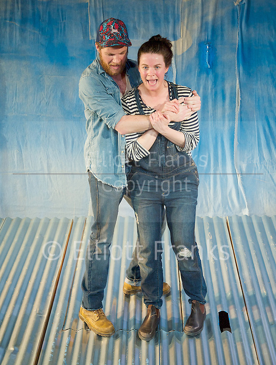 Once We Lived Here <br /> by Dean Bryant <br /> at King's Head Theatre, London, Great Britain <br /> Press photocall<br /> 3rd April 2014 <br /> <br /> Melle Stewart as Amy <br /> Belinda Wollaston as Lecy <br /> Simone Craddock as Claire<br /> Iestyn Arwel as Shaun <br /> Shaun Rennie as Burke